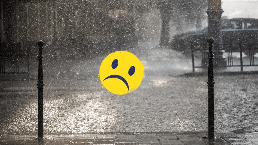 Rainy street with smiley