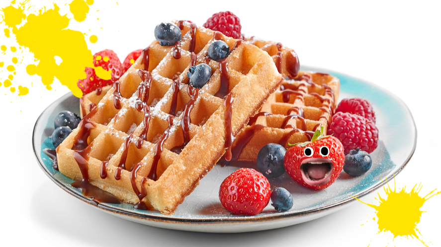Plate on waffles on white background