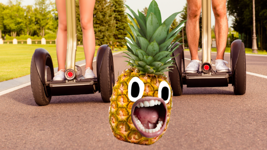 People on segways and screaming pineapple