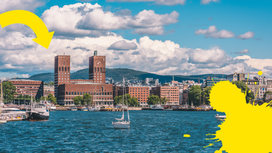 View of Oslo with arrow