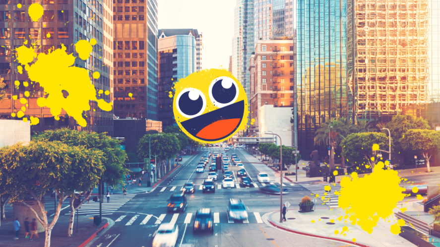 City view with smiley face