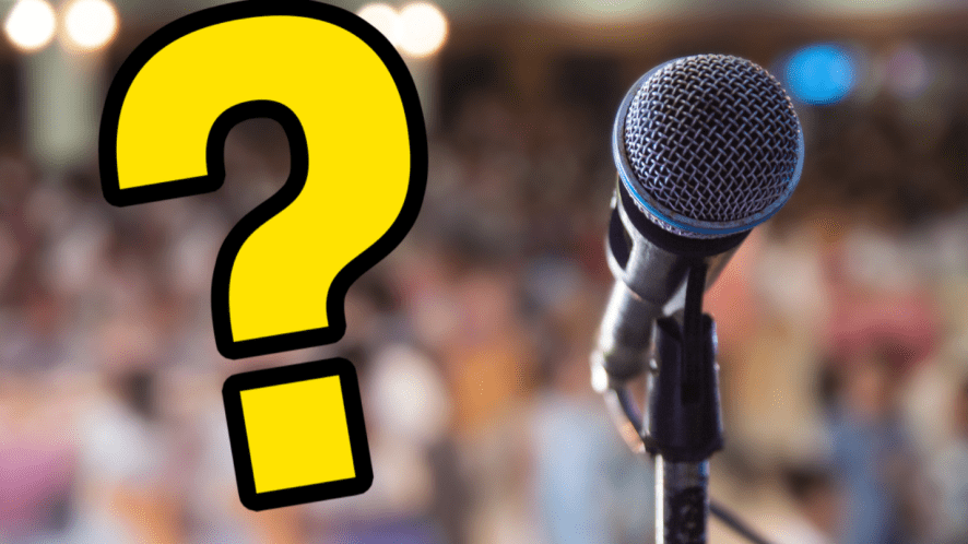 Microphone, crowd and question mark