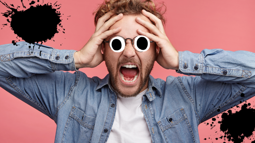 Man looking shocked on pink background