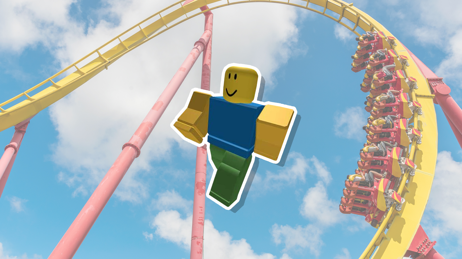 A Roblox character next to a rollercoaster