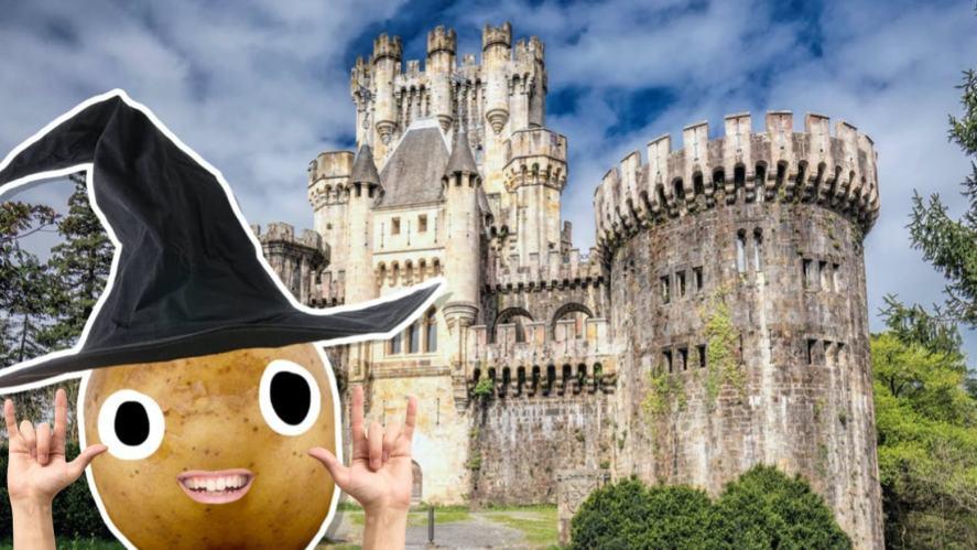A potato wizard outside a castle-like school