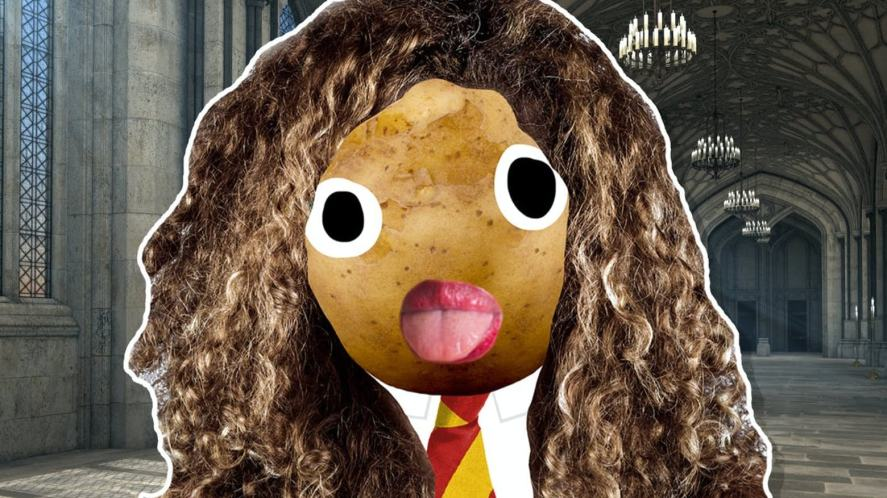 A potato-looking Hermione Granger in a scene from Harry Potter