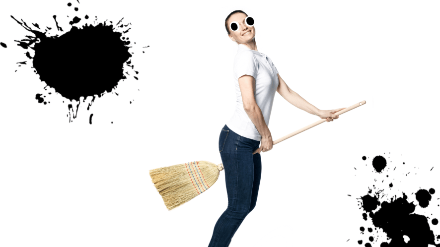 Woman on broomstick on white background