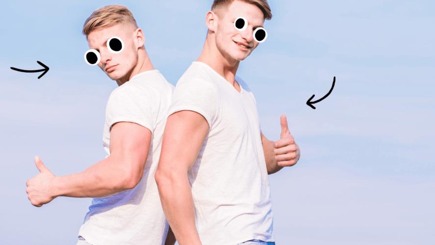 Twin men on blue background