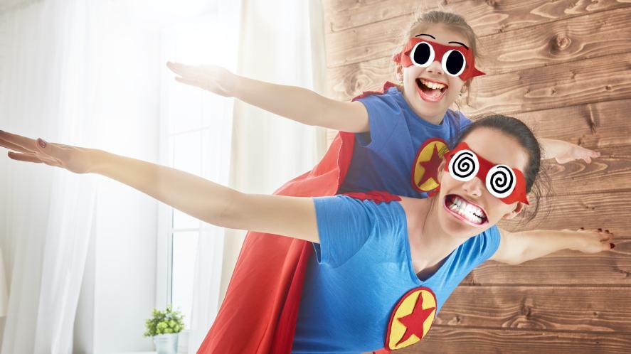 Superhero mum and daughter