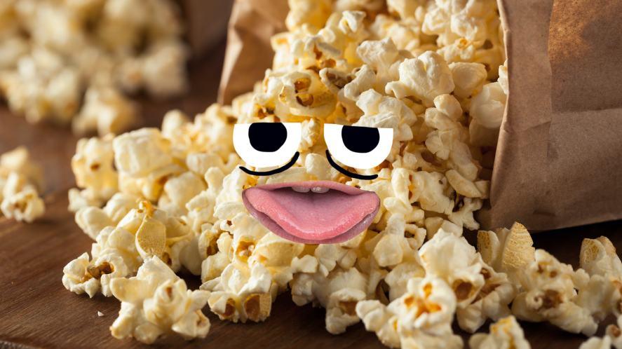 A spilled bag of popcorn