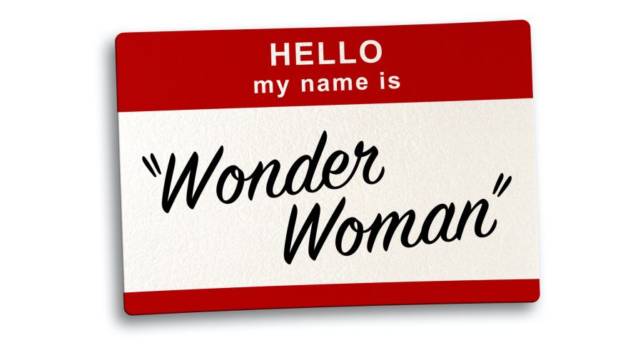 A name tag which reads 'Wonder Woman'