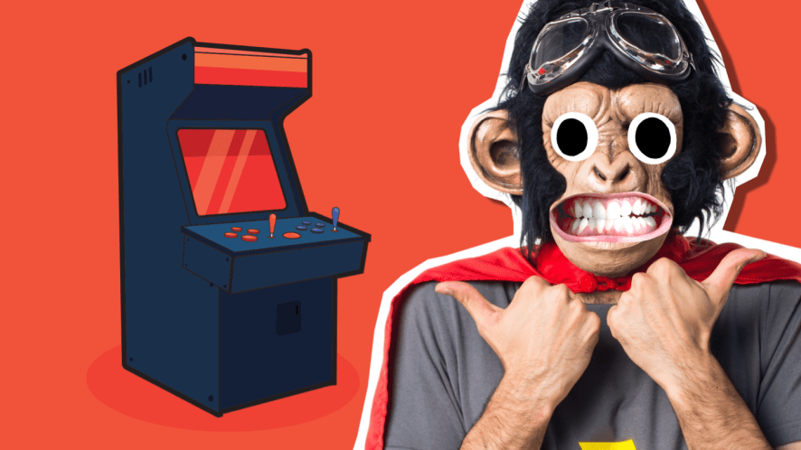 A person in a monkey mask next to an arcade machine
