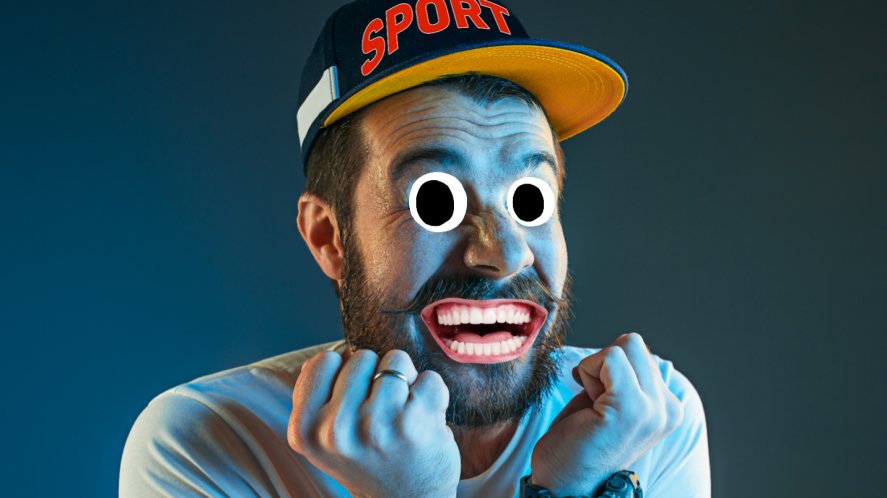 A sports fan wearing a cap which says 'SPORTS'
