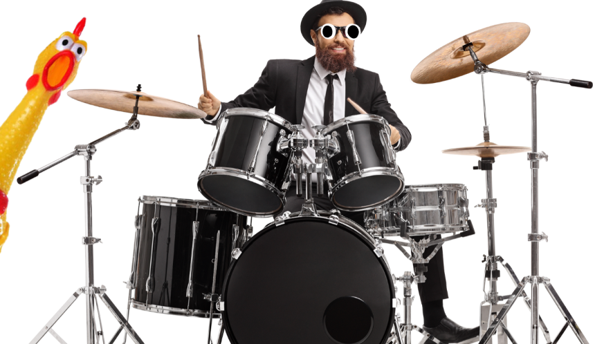 Man playing drums on white background