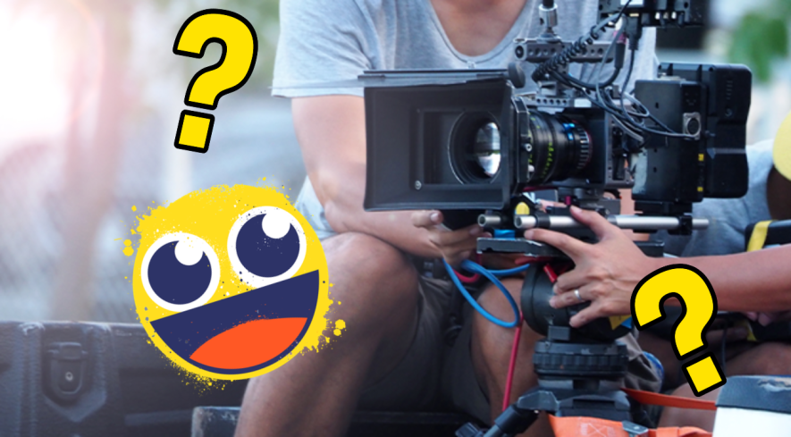Camera and camera man with smiley emoji and question marks