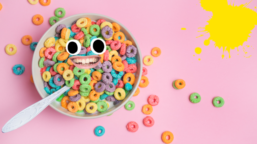 Bowlof cereal on pink background