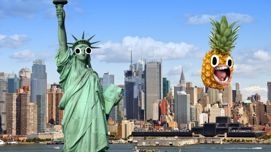 New York skyline and Statue of Liberty