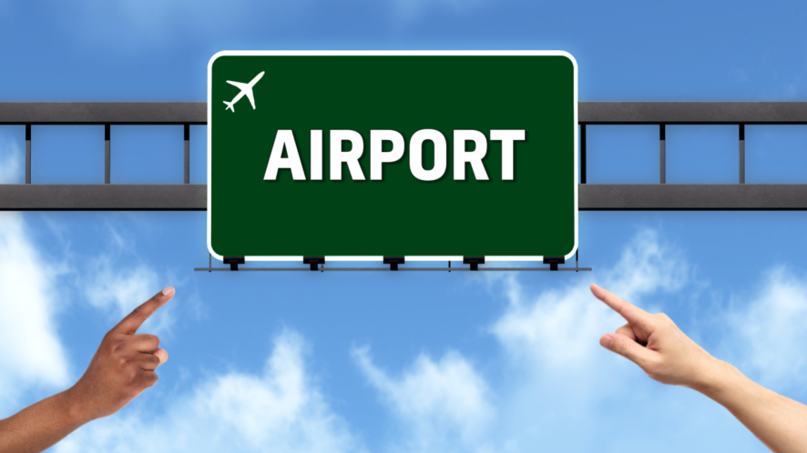 A sign for an airport