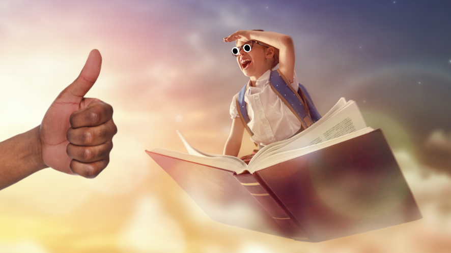 A school student on a flying book