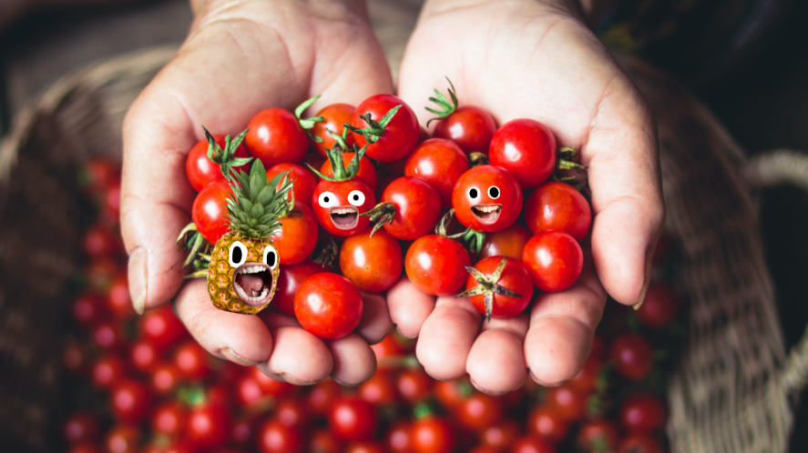 A handful of tomatoes and a small pineapple