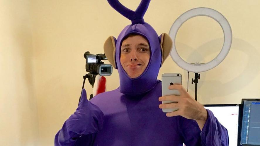 LazarBeam dressed as a Teletubby