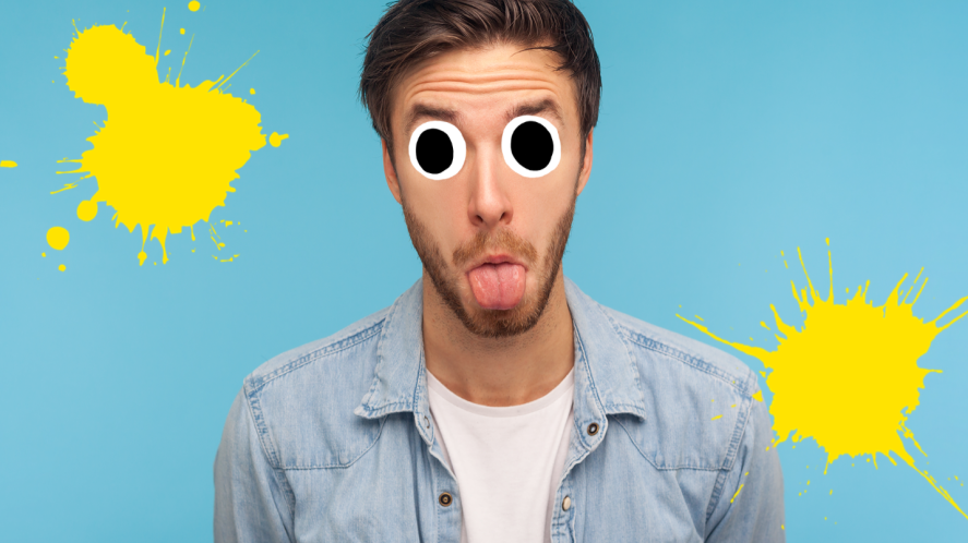 Man with his tongue out on blue background