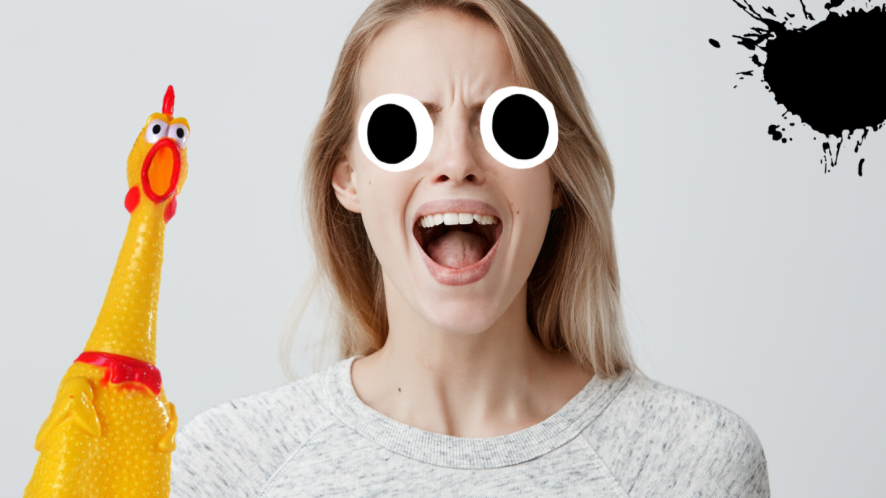 Woman screaming on grey background
