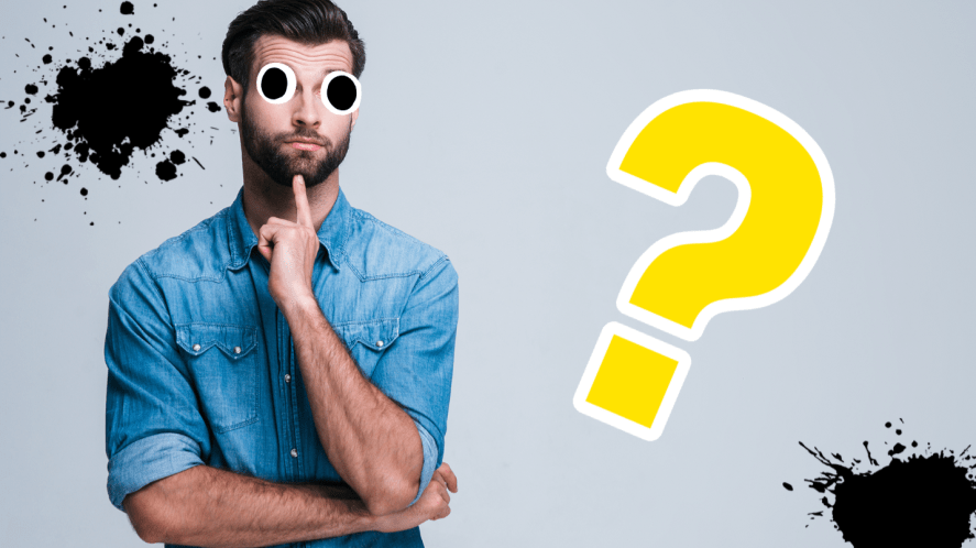 Man looking puzzled on grey background