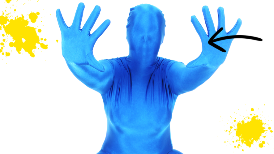 Man in  blue morph suit on white background