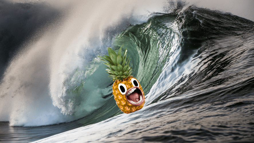 Rolling wave with screaming pineapple