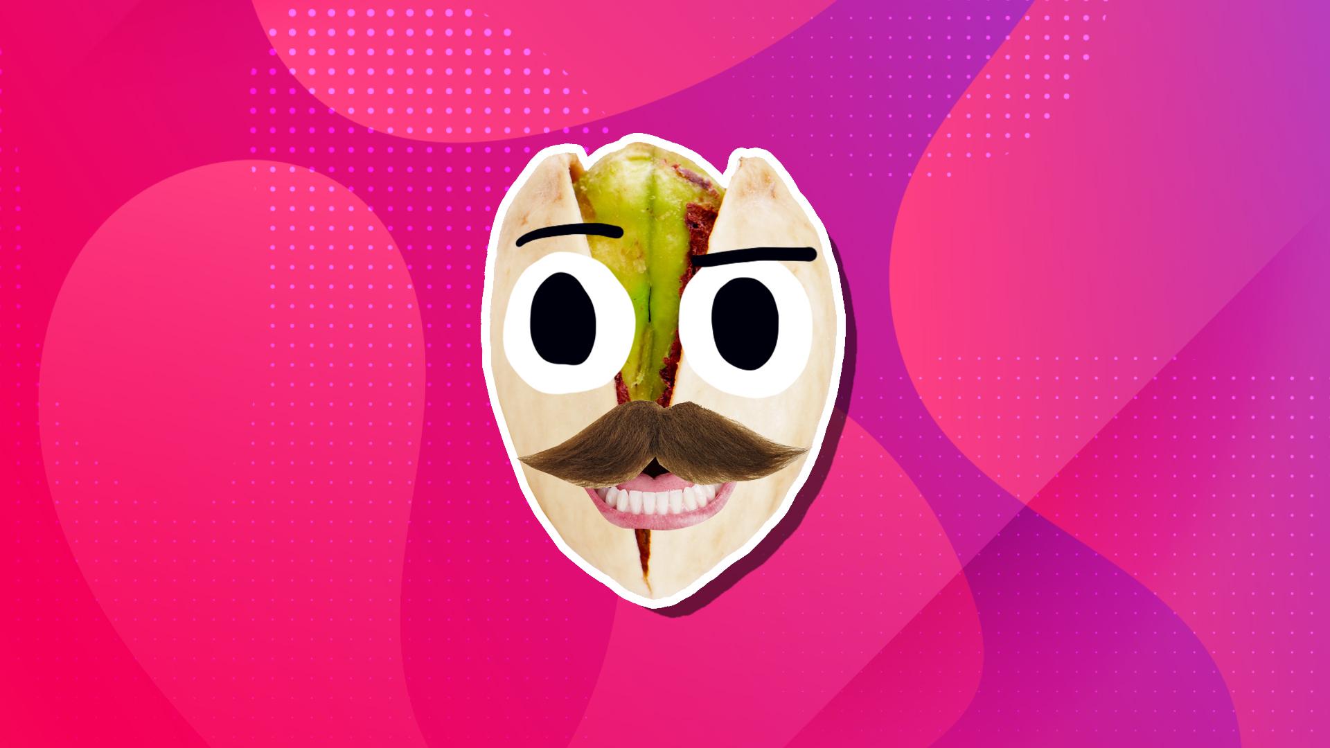 A pistachio with a moustache