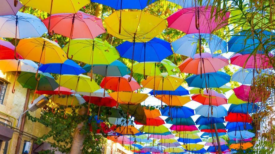 Cyprus street with hanging umbrellas