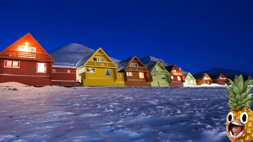 A snowy row of houses