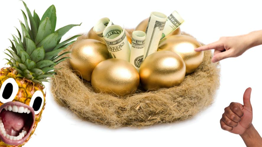 A nest full of golden eggs and US dollars