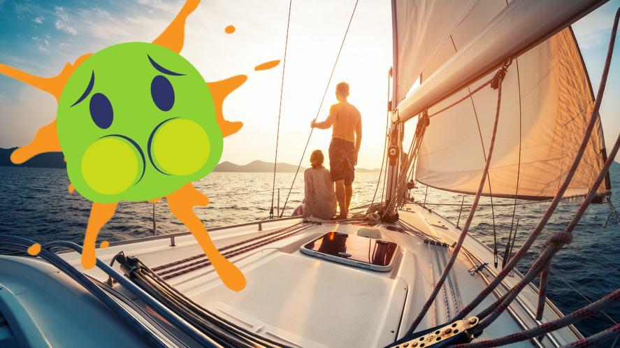 A queasy emoji on a boat
