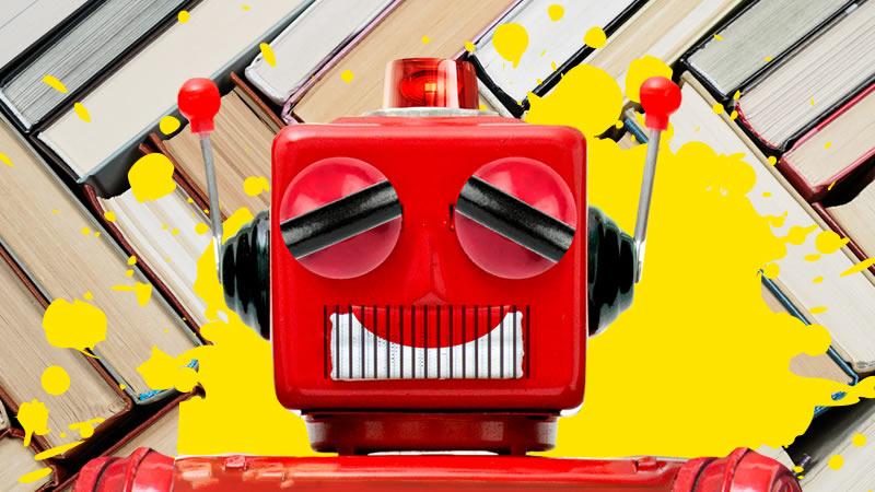 Smiling red robot