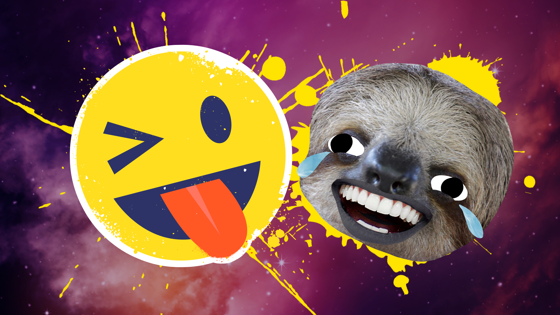 A winking emoji and a laughing sloth