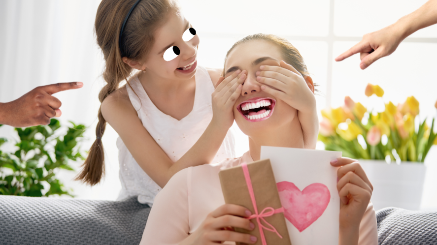 A daughter surprising her mum with a gift