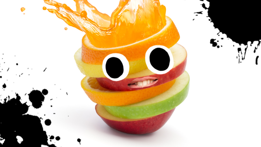 A fruit character with orange juice hair