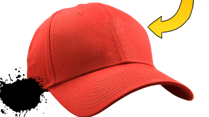 Red baseball cap with white background