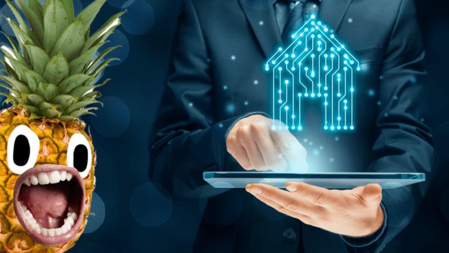 A futuristic house hologram on a tablet