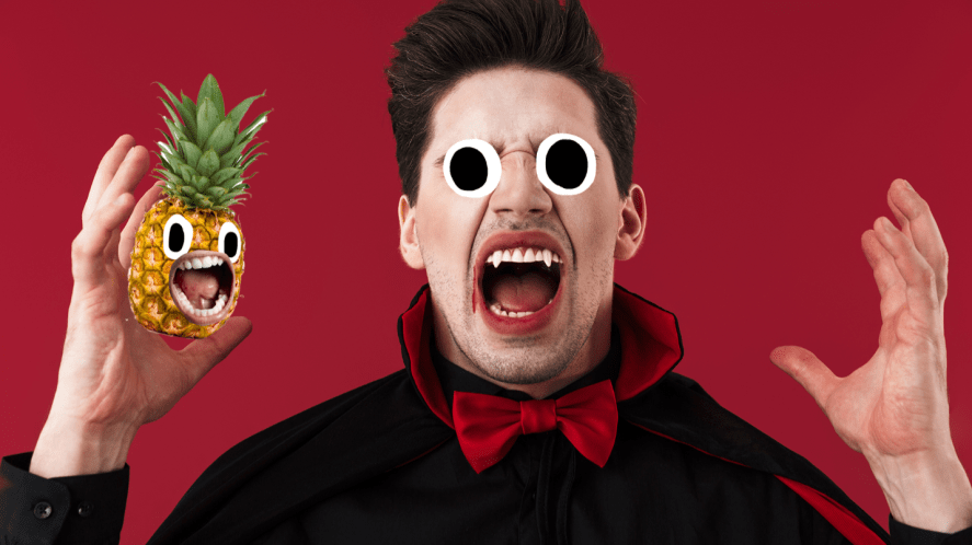 Vampire on red background with screaming pinapple