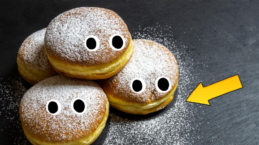 Doughnuts on grey background