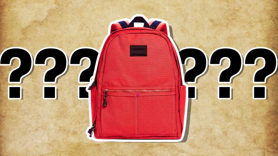 A red backpack with a secret package of gold