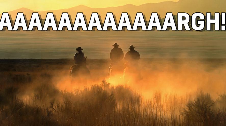 Horses chase across the desert