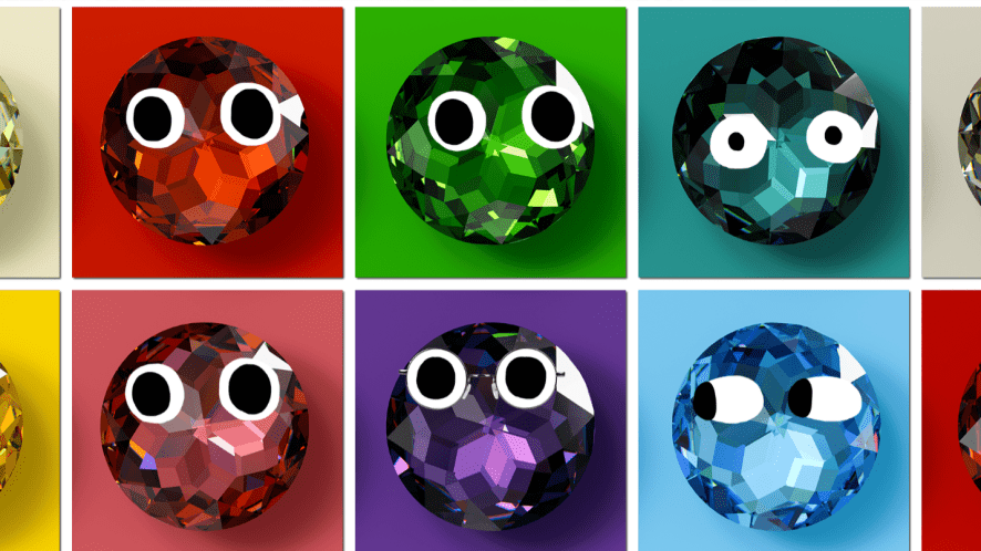 different coloured jewels in squares
