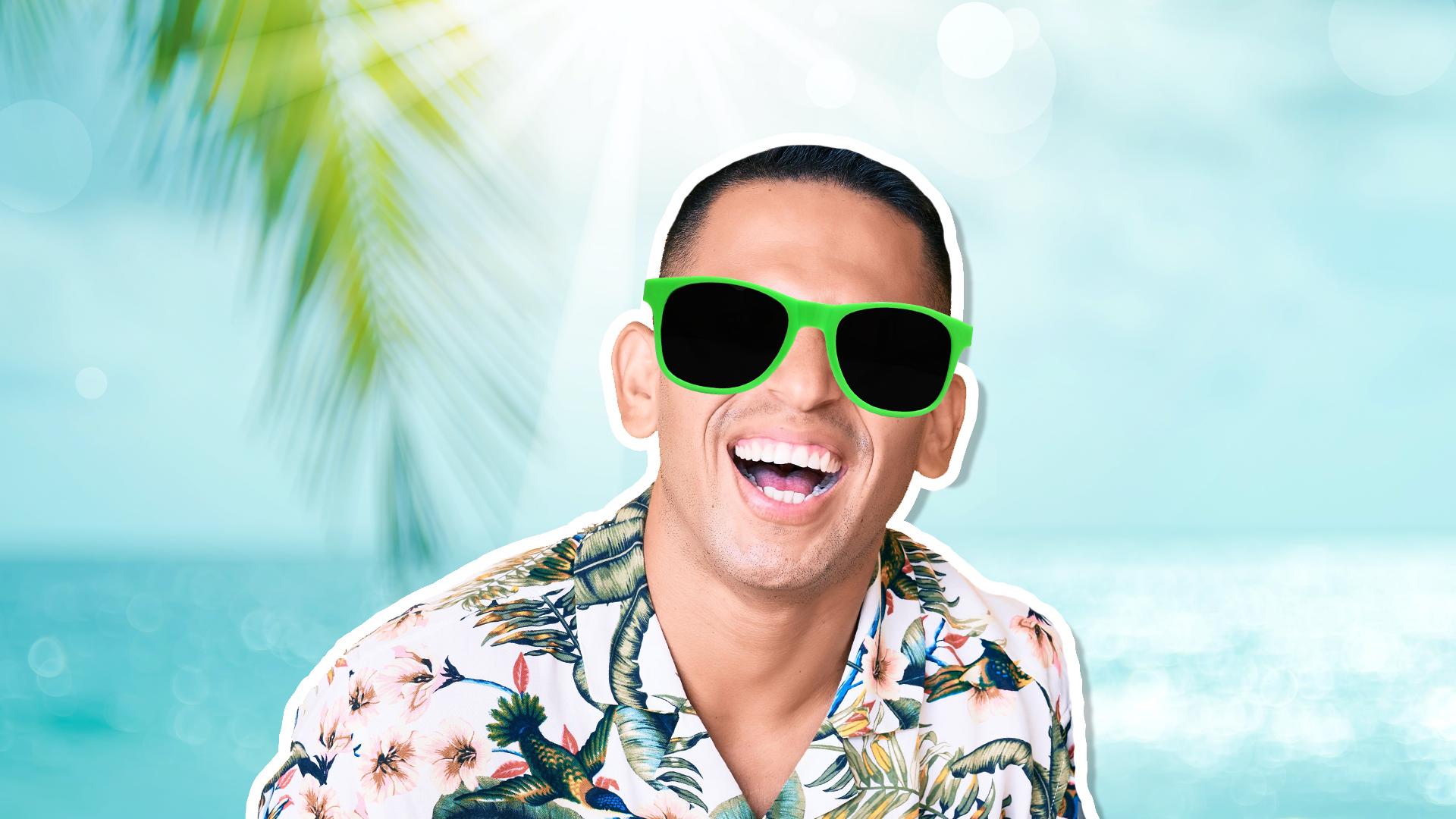 A man in a Hawaiian shirt