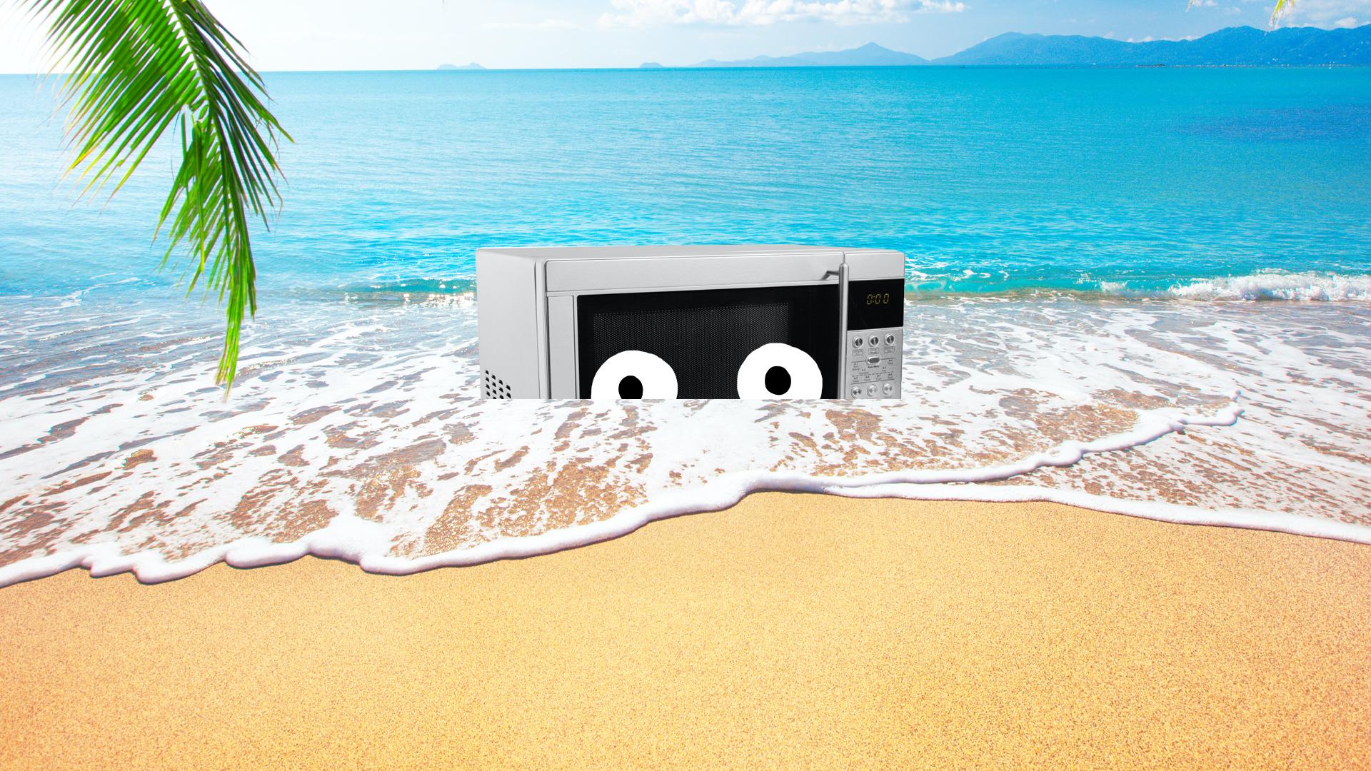 A microwave on a beach