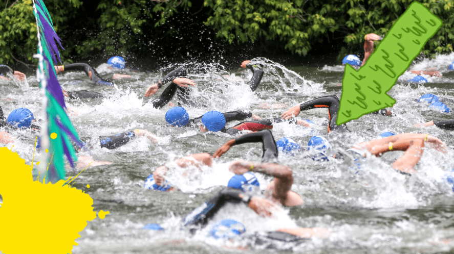 Swimmers in river