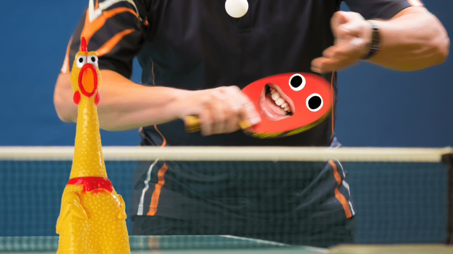 Man serving in table tennis